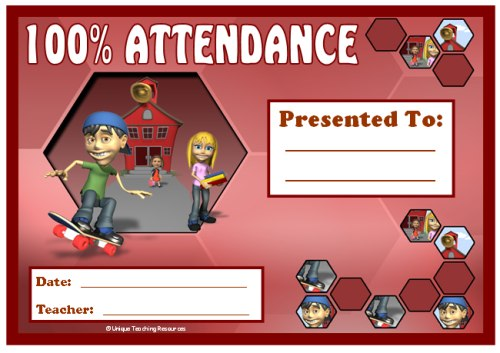 100% Attendance Award Certificate For Older Primary Students