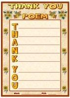 Thank You Acrostic Poem November Writing Prompts Printable Worksheet