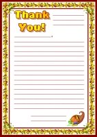 Thank You Letters November Writing Prompts Printable Worksheet