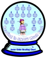 Winter Reading Snow Globe Sticker Charts and Templates