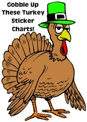Fun Turkey and Thanksgiving Sticker Charts and Templates for Kids