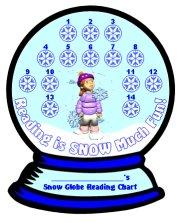 Reading Sticker Charts Winter Snow Globe Templates