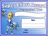 Super Effort Awards and Certificates