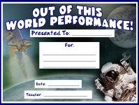 Out of this World Performance Awards and Certificates