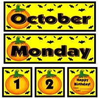 October Calendar Display for Pocket Charts
