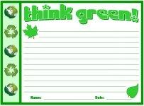 Think Green Recycling Environmental Printable Worksheets for Language Arts