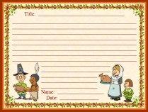 Thanksgiving Dinner and Pilgrims November Writing Prompts Printable Worksheet