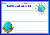 Earth Day April 22 Writing Printable Worksheets for Language Arts