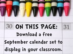 Download Free September Classroom Calendar Set