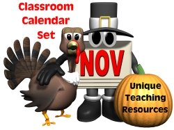 November Classroom Calendar For Elementary School Teachers