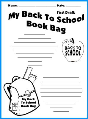 Back To School Printable Worksheets Student Bookbags