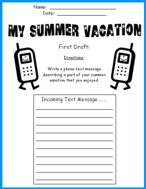 My Summer Vacation Cell Phone Printable Worksheets First Draft
