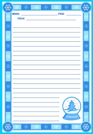 Winter Wonderland and Christmas Printable Worksheets and Stationery Templates