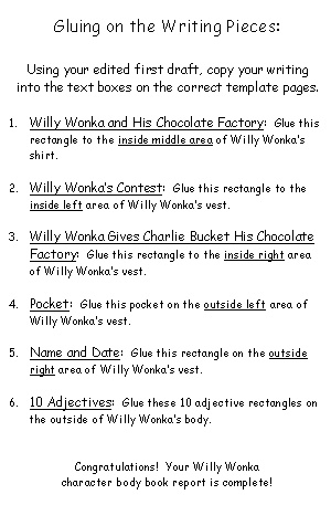 Charlie and the Chocolate Factory Willy Wonka Project Directions
