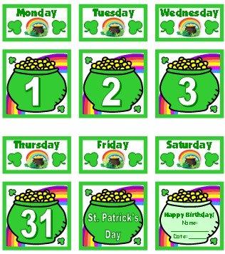 March Printable Pocket Chart Classroom Calendar For School Teachers