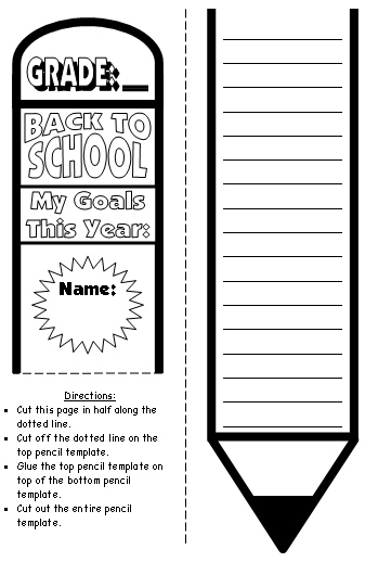 Pencil writing templates for back to school my goals this for New years goals template
