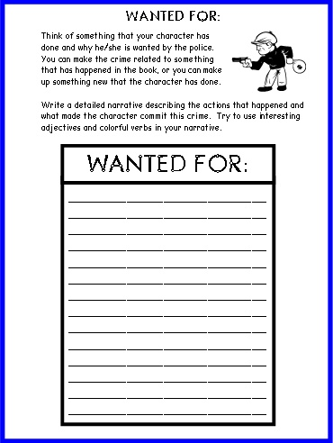 Wanted Poster Book Report Projects First Draft  Worksheets