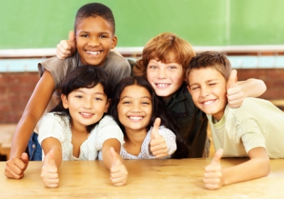 Elementary School Students Thumbs Up