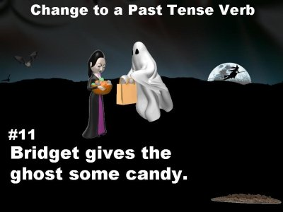Halloween verbs slide example