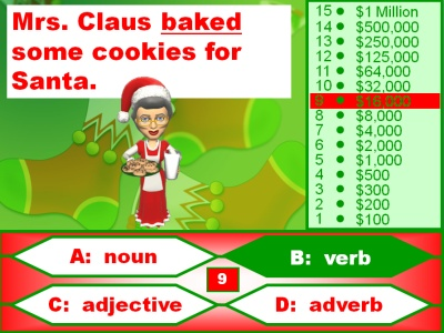 Who Wants to Be a Millionaire Christmas Powerpoint Game:  Nouns, Verbs, Adjectives, and Adverbs