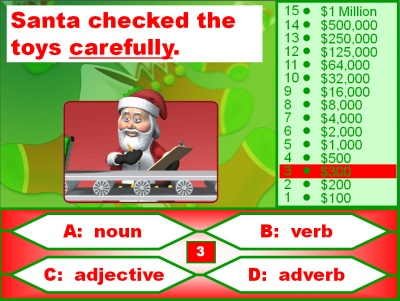 Christmas Parts of Speech Powerpoint Lesson Plans Reviewing Nouns, Verbs, Adjectives, and Adverbs