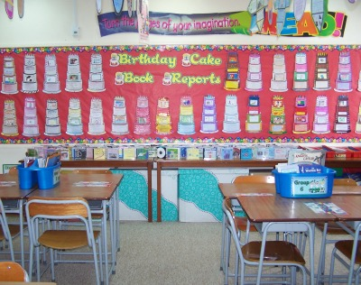 Birthday Cake Book Report Projects Elementary Classroom Bulletin Board Display
