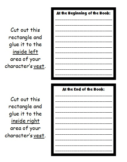 Main Character Book Report Projects Printable Worksheets