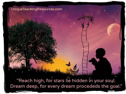 Reach high motivational quote by Pamela Vaull Starr