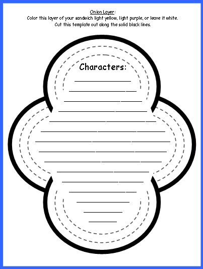 Sandwich Book Report Projects OnionTemplates and Worksheets for Characters