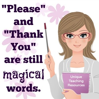 Education quote about using good manners and students saying please and thank you.