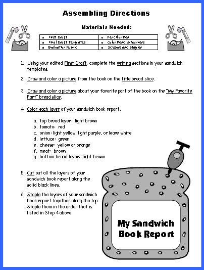 Sandwich Book Report Projects Assembling Directions
