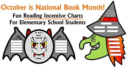 National Book Month Reading Sticker Charts for Elementary School Students