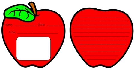 Right Apple Template Writing Red Apple Template