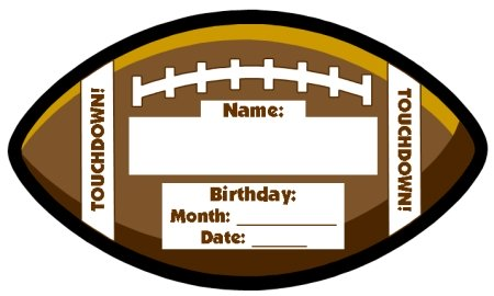Happy Birthday Football Shaped Template for Elementary Students