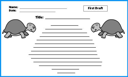 Turtle Creative Writing Worksheet First Draft