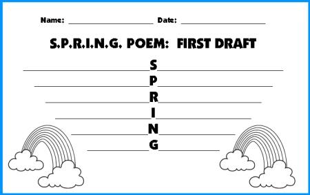 Spring Acrostic Poem First Draft Worksheets