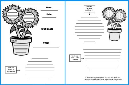 Sunflower Creative Writing First Draft Writing Worksheets