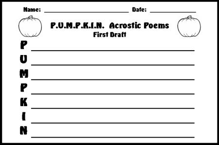Halloween Pumpkin Acrostic Poem First Draft Printable Worksheet
