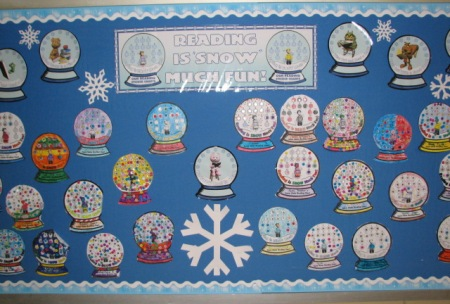 Christmas and Winter Reading Sticker Charts Bulletin Board Display Ideas and Examples