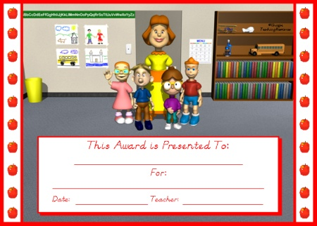 Student Achievement Award Certificate Apple Theme