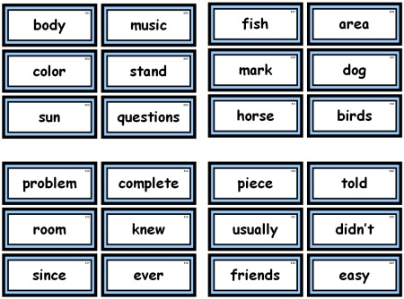 Free Fry Teaching Resources, Flashcards and Word Lists for Elementary Teachers