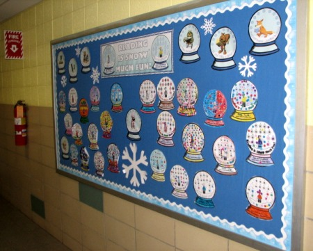 Winter Bulletin Board Display Ideas and Examples for Reading Sticker Charts