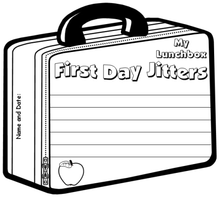First Day Jitters Lunch Box Writing Templates
