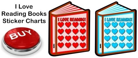 I Love Reading Books Sticker Charts For Valentine's Day