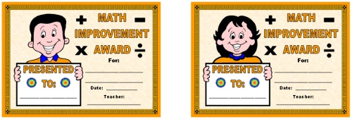 Free Math Improvement Award Certificates