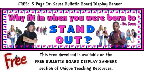 Dr Seuss Free Bulletin Board Display Banner For Teachers To Download.