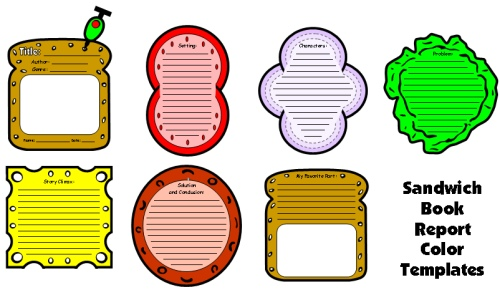 Sandwich Book Report Projects Templates and Worksheets
