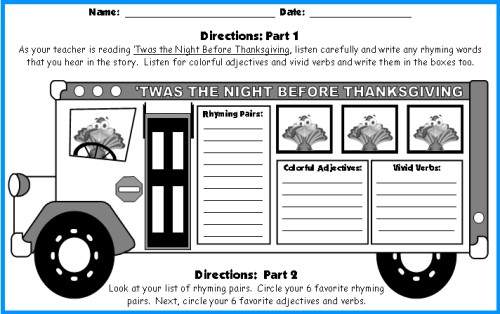 Twas the Night Before Thanksgiving Bus Writing Template