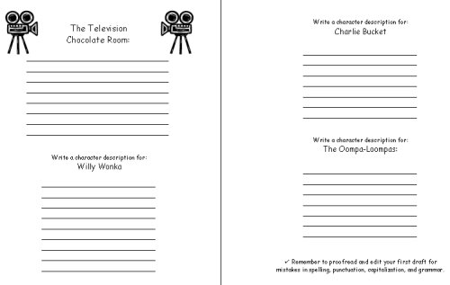 Charlie and the Chocolate Factory First Draft Creative Writing Worksheets