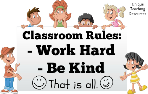 Classroom Rules Sign Work Hard Be Kind